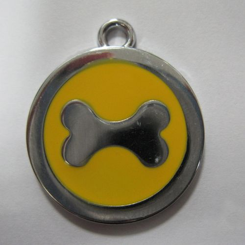 金屬-黃色狗骨頭寵物牌